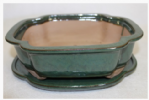Bonsai Pot, Rectangle (CC), 26cm, Green, Glazed, Saucer